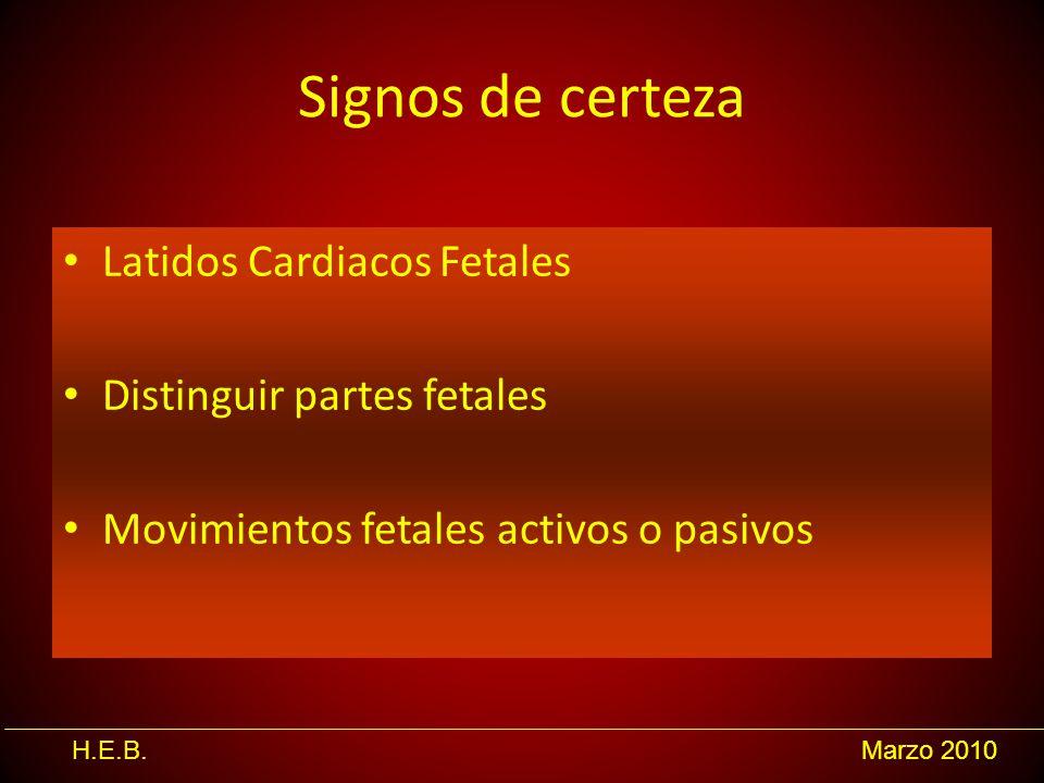 Signos de certeza Latidos Cardiacos Fetales Distinguir partes fetales