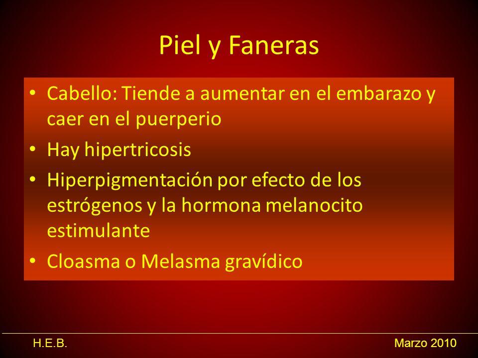 Piel y Faneras Cabello: Tiende a aumentar en el embarazo y caer en el puerperio. Hay hipertricosis.