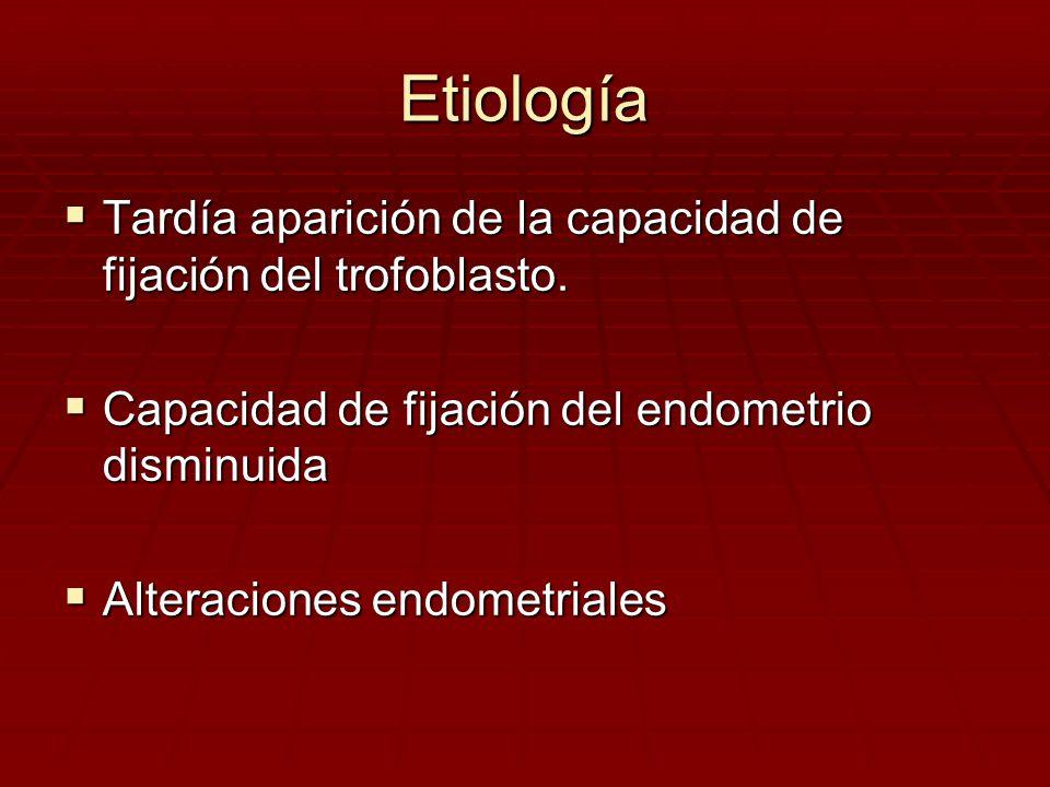 Etiología Tardía aparición de la capacidad de fijación del trofoblasto. Capacidad de fijación del endometrio disminuida.