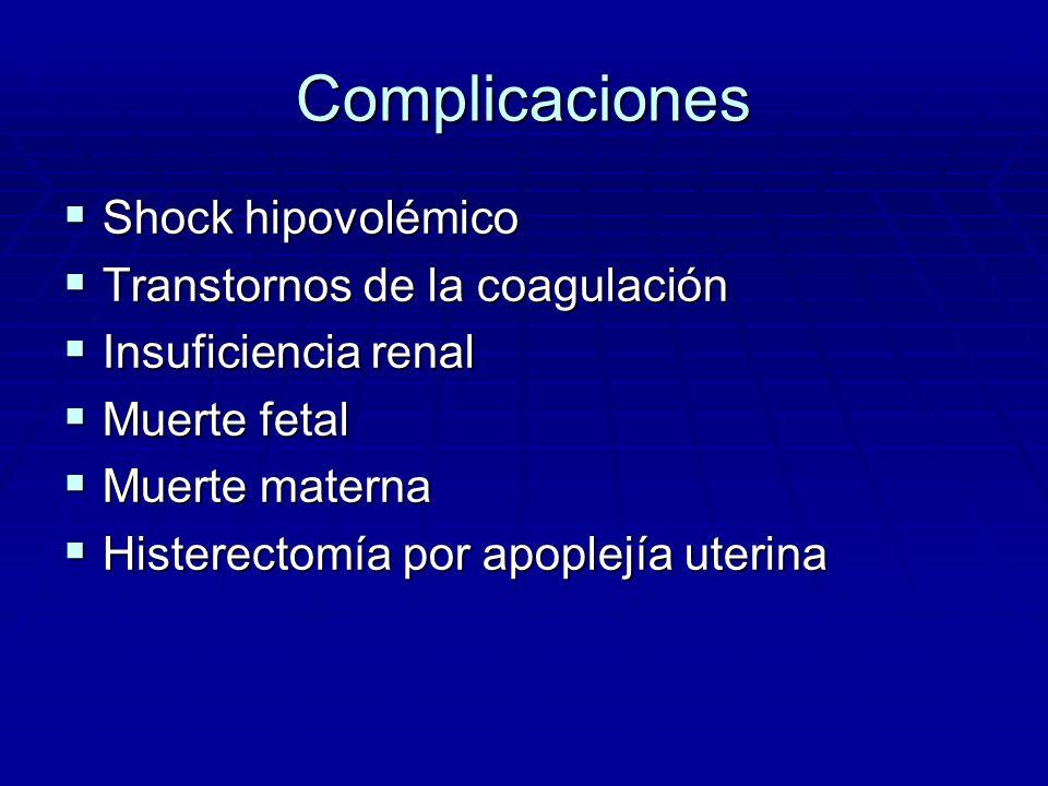 Complicaciones Shock hipovolémico Transtornos de la coagulación
