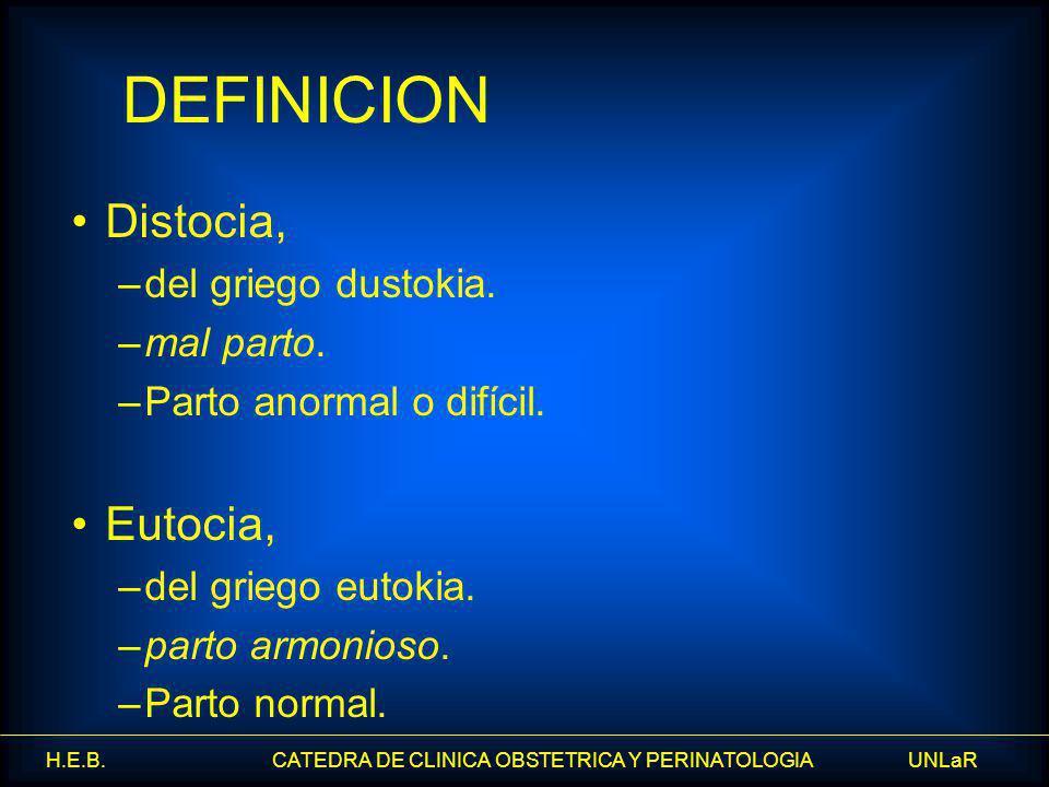 DEFINICION Distocia, Eutocia, del griego dustokia. mal parto.