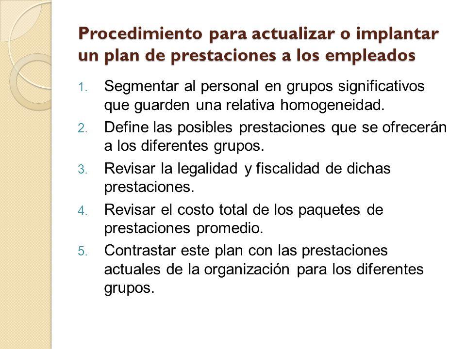Procedimiento para actualizar o implantar un plan de prestaciones a los empleados
