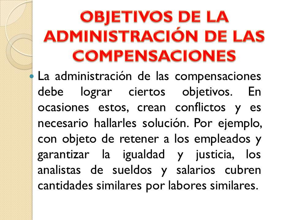 OBJETIVOS DE LA ADMINISTRACIÓN DE LAS COMPENSACIONES