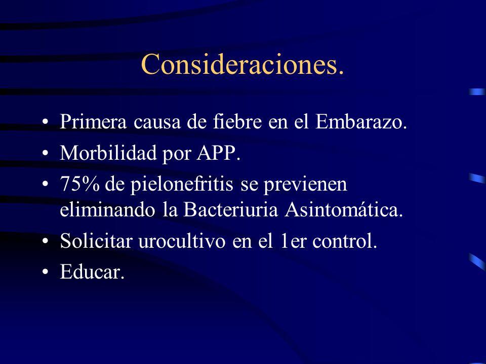 Consideraciones. Primera causa de fiebre en el Embarazo.