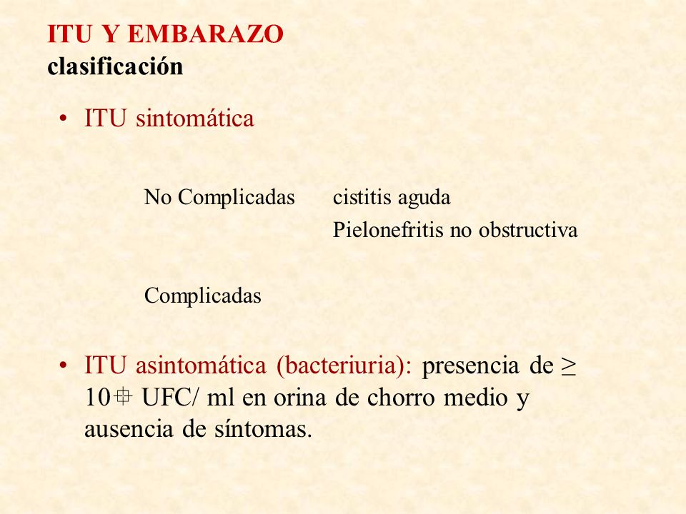 ITU Y EMBARAZO clasificación