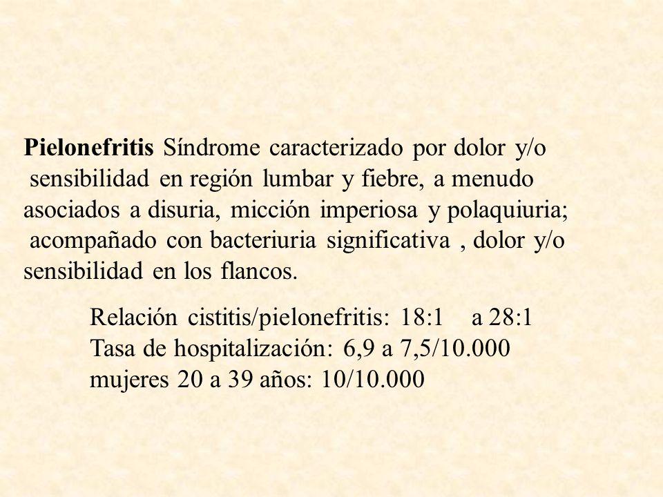 Pielonefritis Síndrome caracterizado por dolor y/o