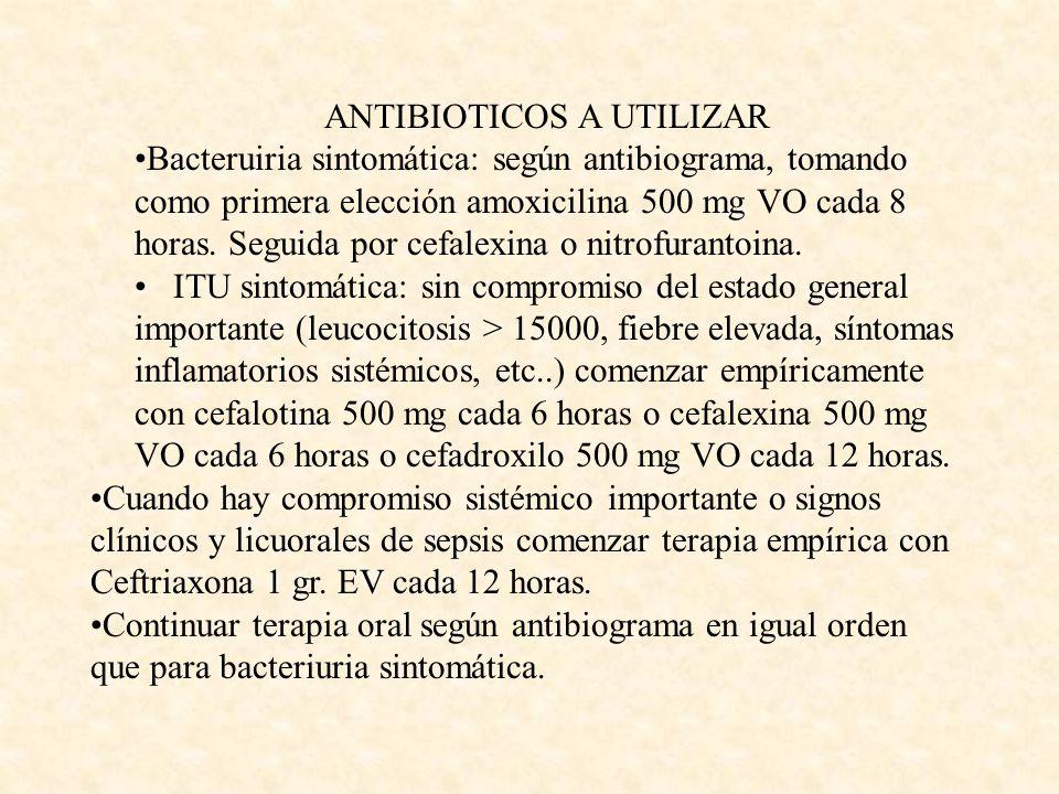ANTIBIOTICOS A UTILIZAR