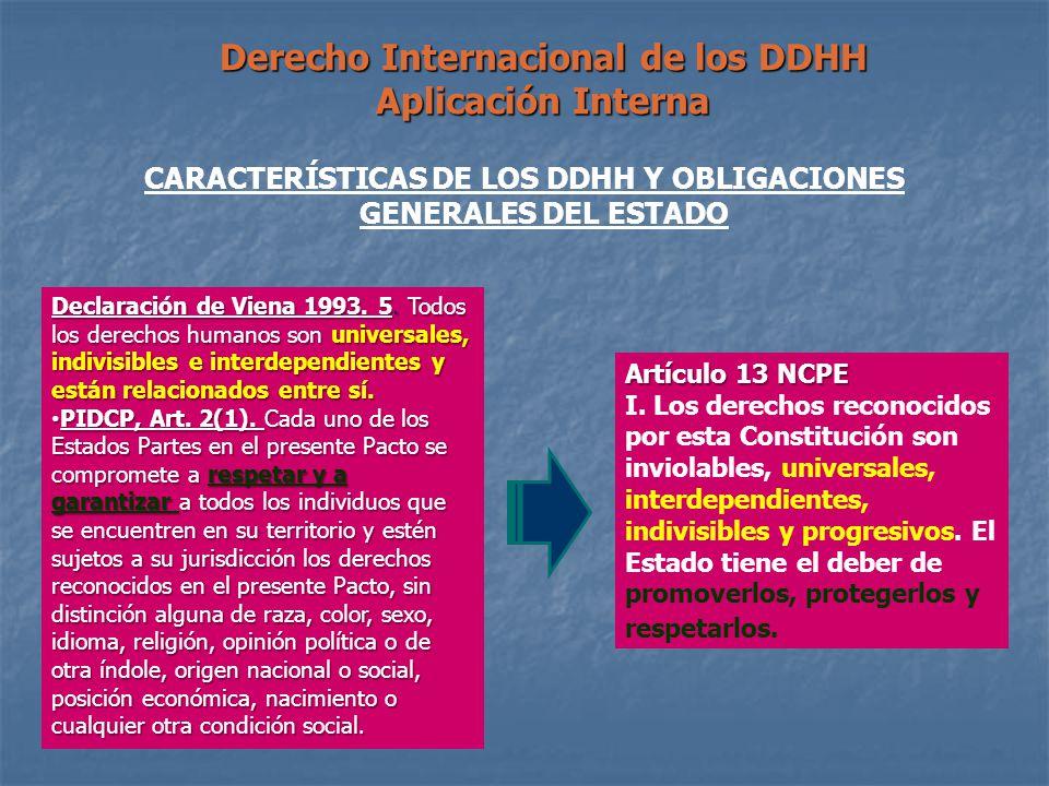 Derecho Internacional de los DDHH Aplicación Interna