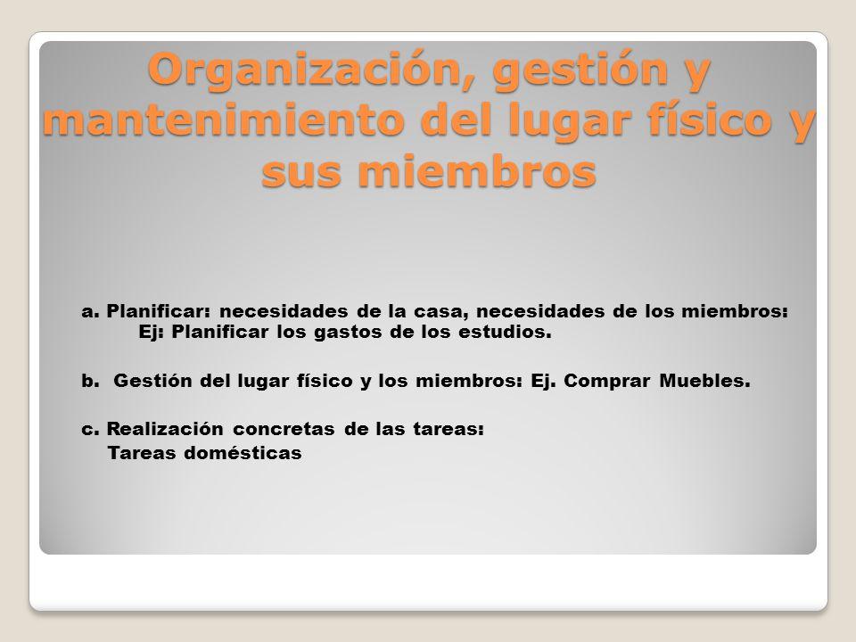 Organización, gestión y mantenimiento del lugar físico y sus miembros