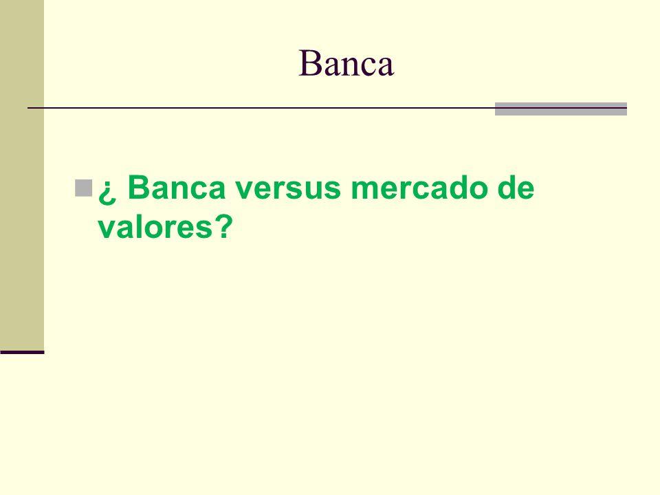 Banca ¿ Banca versus mercado de valores