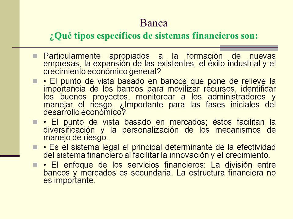 Banca ¿Qué tipos específicos de sistemas financieros son: