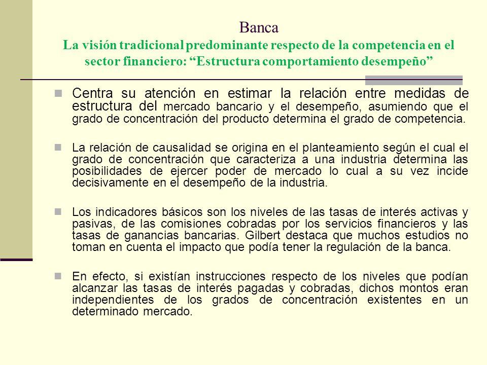 Banca La visión tradicional predominante respecto de la competencia en el sector financiero: Estructura comportamiento desempeño