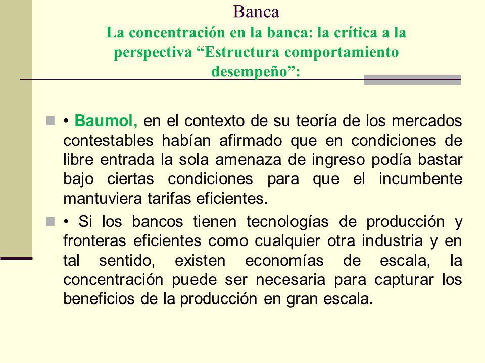 Banca La concentración en la banca: la crítica a la perspectiva Estructura comportamiento desempeño :