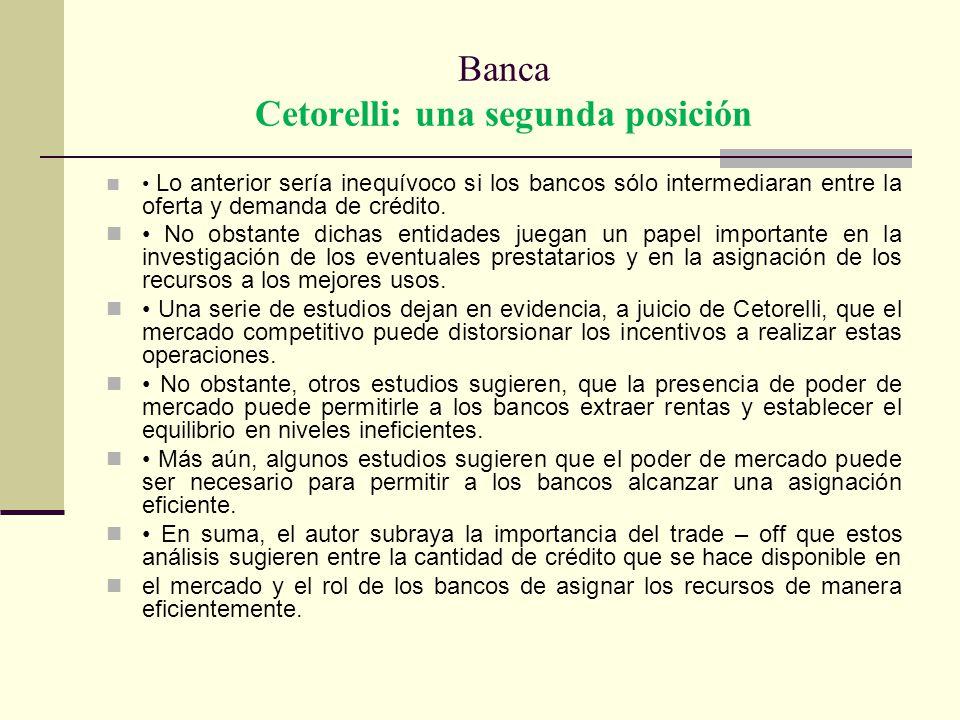 Banca Cetorelli: una segunda posición