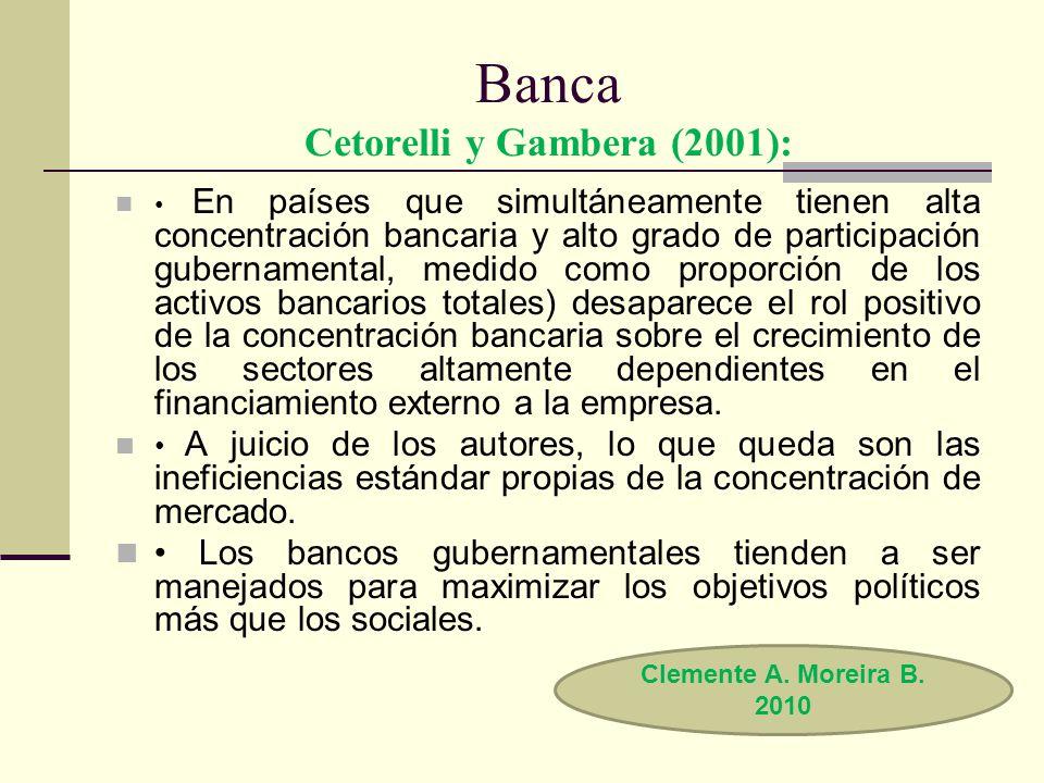 Banca Cetorelli y Gambera (2001):