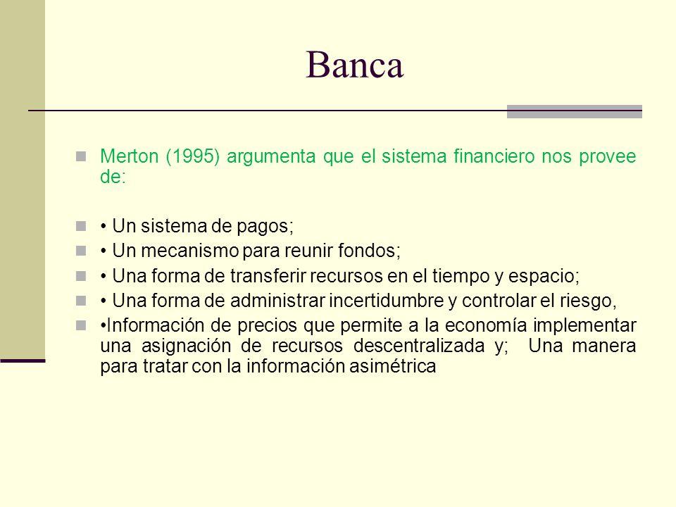 Banca Merton (1995) argumenta que el sistema financiero nos provee de: