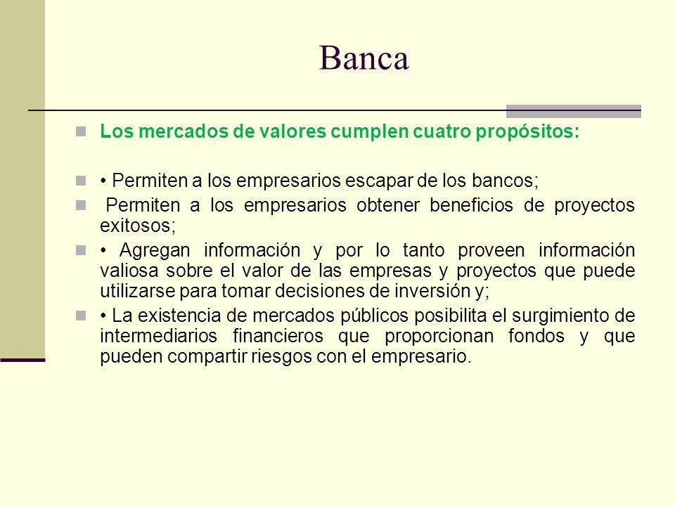 Banca Los mercados de valores cumplen cuatro propósitos: