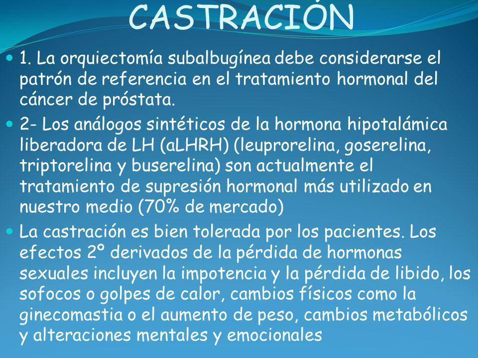 CASTRACIÓN 1. La orquiectomía subalbugínea debe considerarse el patrón de referencia en el tratamiento hormonal del cáncer de próstata.