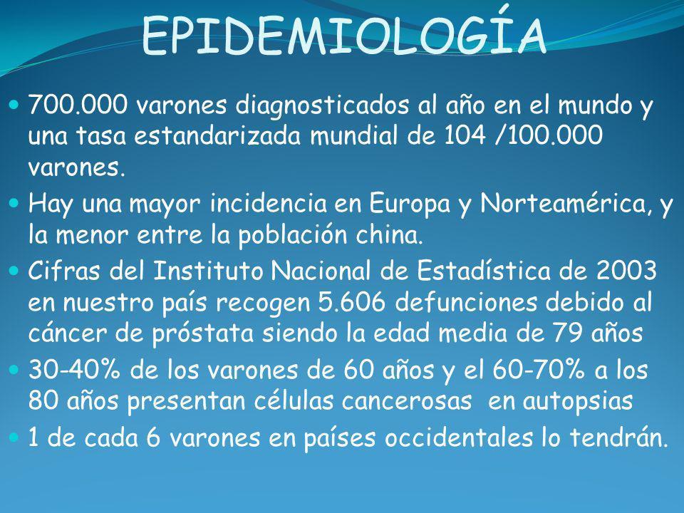 EPIDEMIOLOGÍA 700.000 varones diagnosticados al año en el mundo y una tasa estandarizada mundial de 104 /100.000 varones.