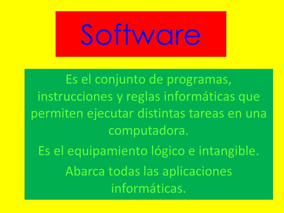 Software Es el conjunto de programas, instrucciones y reglas informáticas que permiten ejecutar distintas tareas en una computadora.