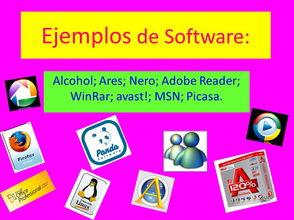 Alcohol; Ares; Nero; Adobe Reader; WinRar; avast!; MSN; Picasa.