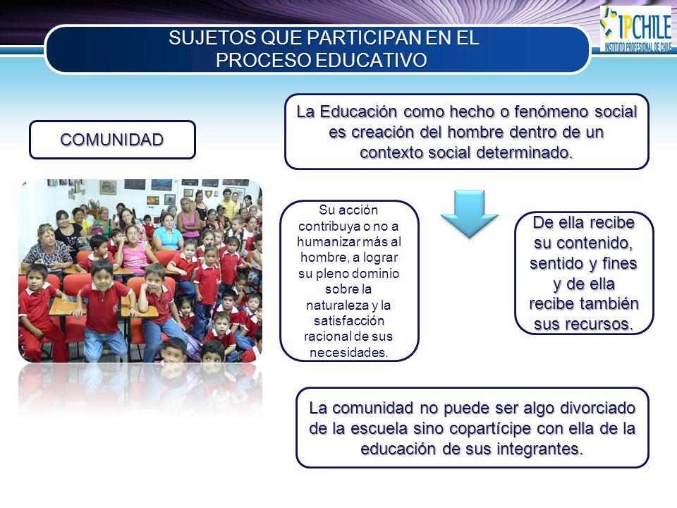 SUJETOS QUE PARTICIPAN EN EL PROCESO EDUCATIVO
