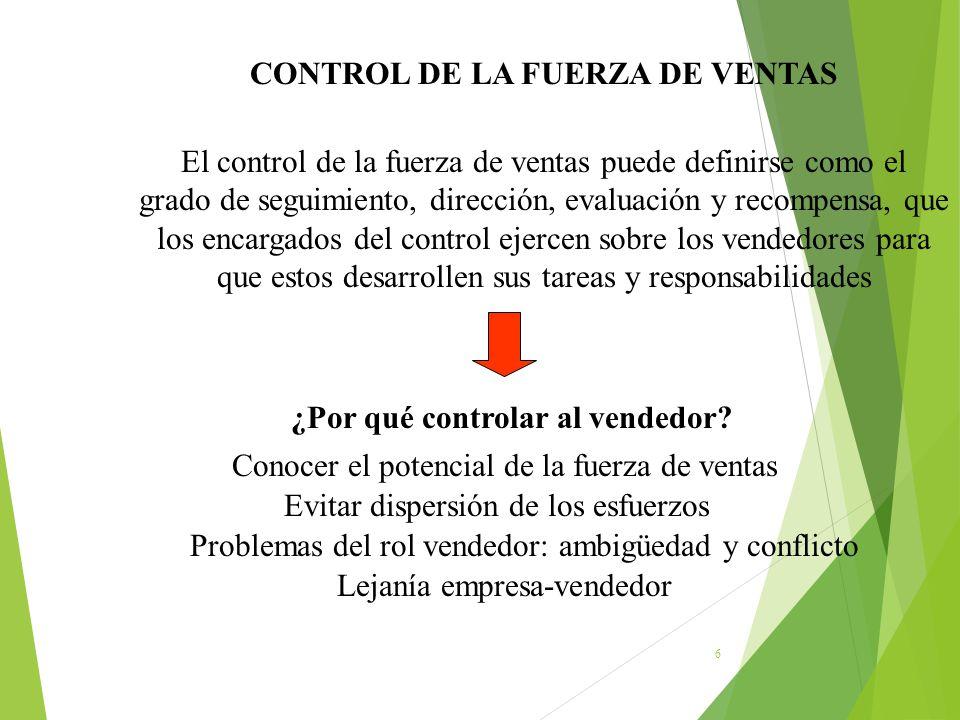 CONTROL DE LA FUERZA DE VENTAS ¿Por qué controlar al vendedor