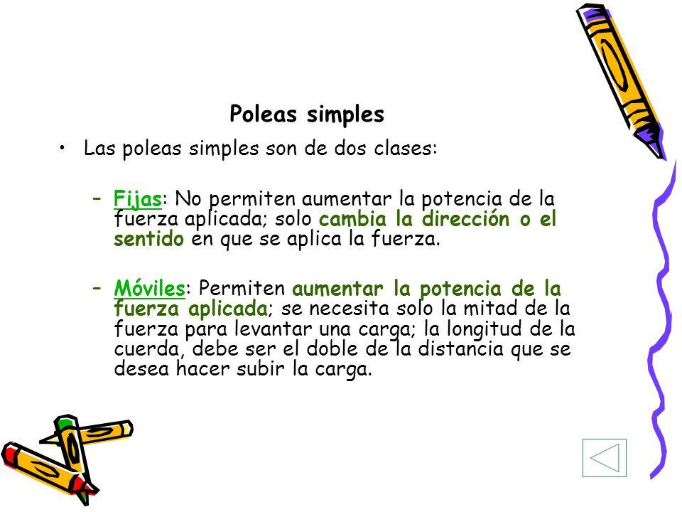 Poleas simples Las poleas simples son de dos clases: