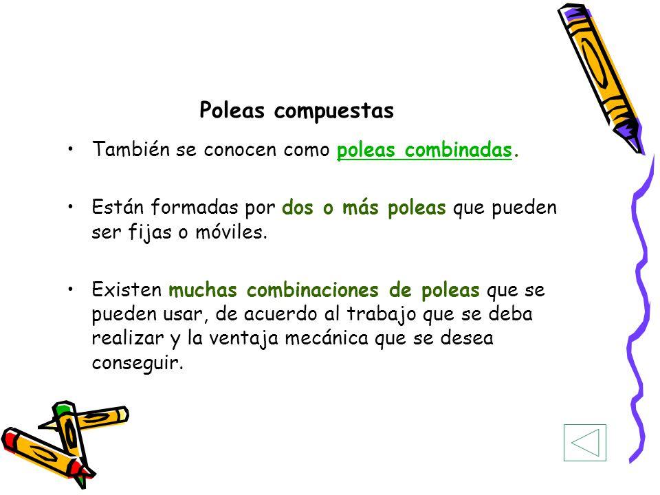 Poleas compuestas También se conocen como poleas combinadas.