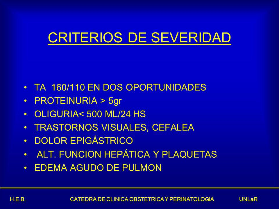CRITERIOS DE SEVERIDAD