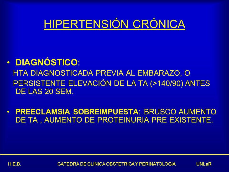 HIPERTENSIÓN CRÓNICA DIAGNÓSTICO: