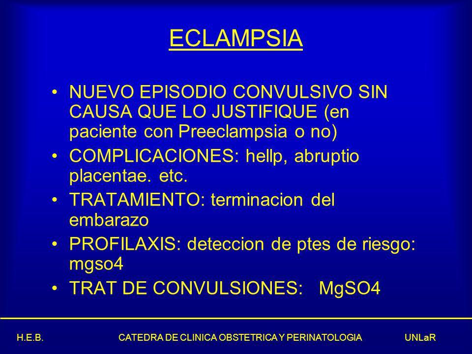 ECLAMPSIA NUEVO EPISODIO CONVULSIVO SIN CAUSA QUE LO JUSTIFIQUE (en paciente con Preeclampsia o no)
