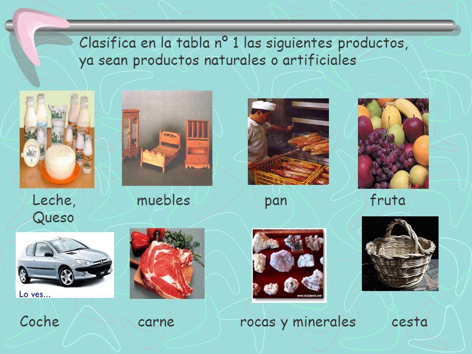 Clasifica en la tabla nº 1 las siguientes productos,