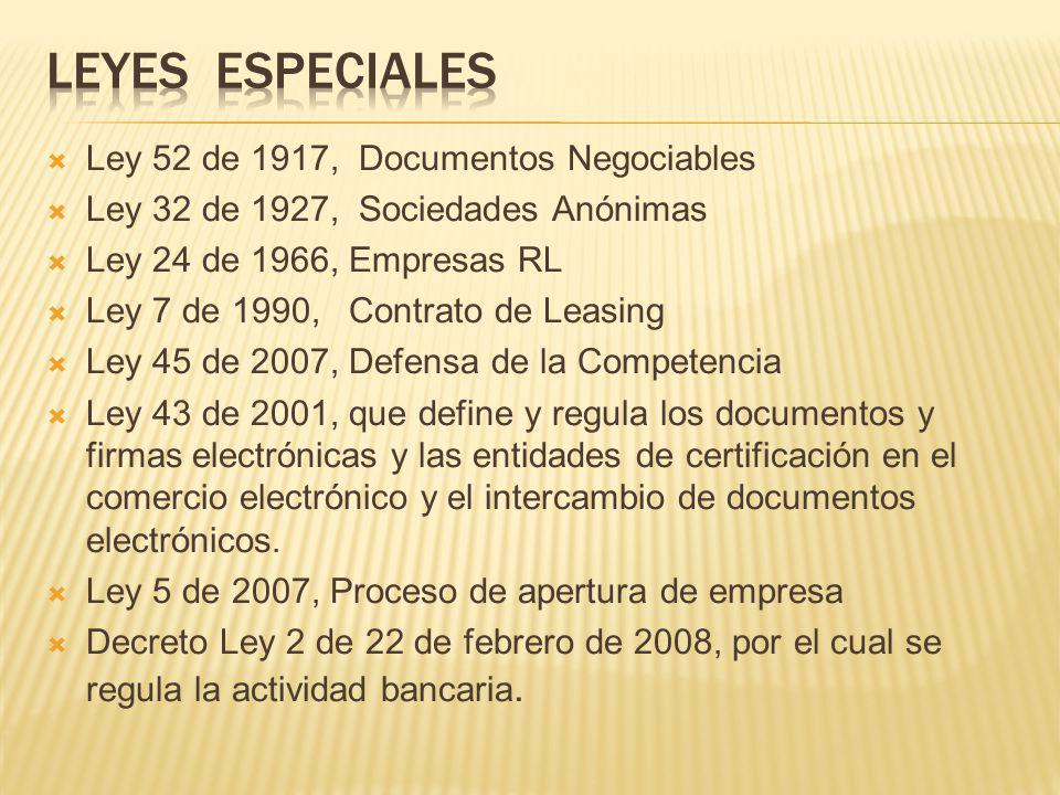 Leyes especiales Ley 52 de 1917, Documentos Negociables
