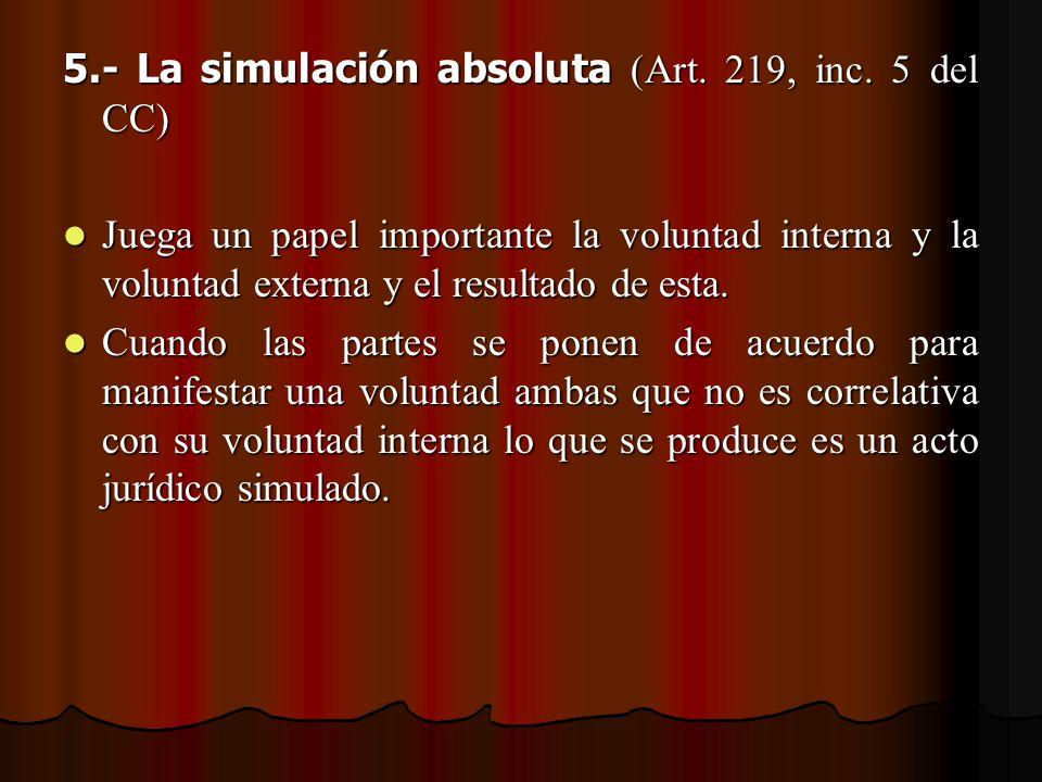 5.- La simulación absoluta (Art. 219, inc. 5 del CC)