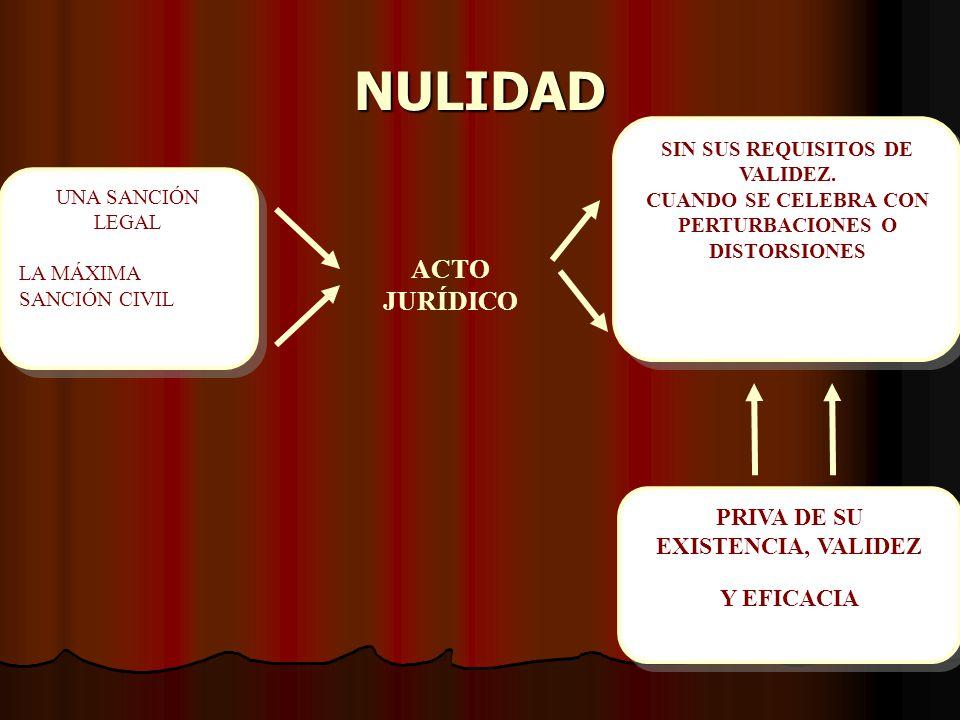 NULIDAD ACTO JURÍDICO PRIVA DE SU EXISTENCIA, VALIDEZ Y EFICACIA