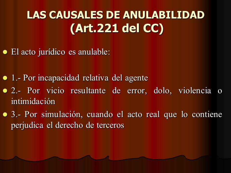 LAS CAUSALES DE ANULABILIDAD (Art.221 del CC)