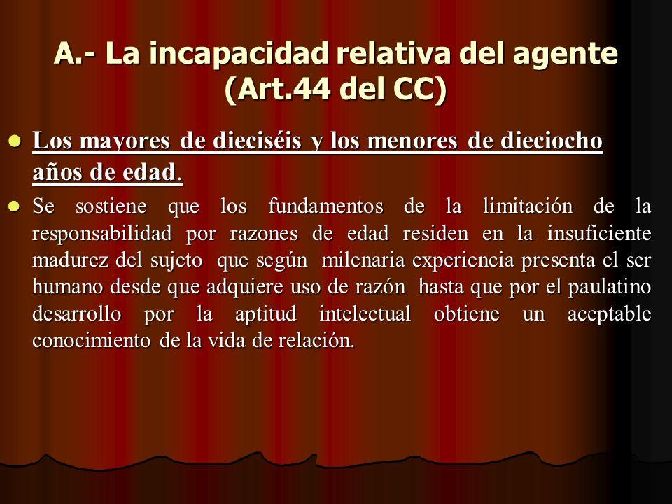 A.- La incapacidad relativa del agente (Art.44 del CC)