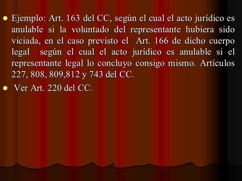 Ejemplo: Art. 163 del CC, según el cual el acto jurídico es anulable si la voluntado del representante hubiera sido viciada, en el caso previsto el Art. 166 de dicho cuerpo legal según el cual el acto jurídico es anulable si el representante legal lo concluyo consigo mismo. Artículos 227, 808, 809,812 y 743 del CC.