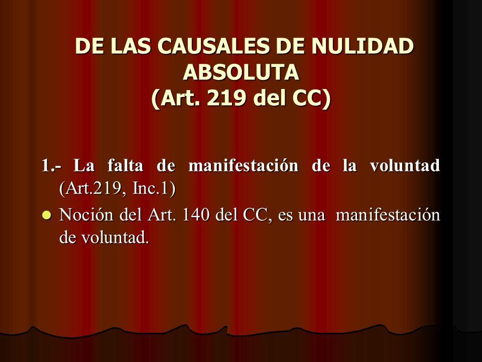 DE LAS CAUSALES DE NULIDAD ABSOLUTA (Art. 219 del CC)