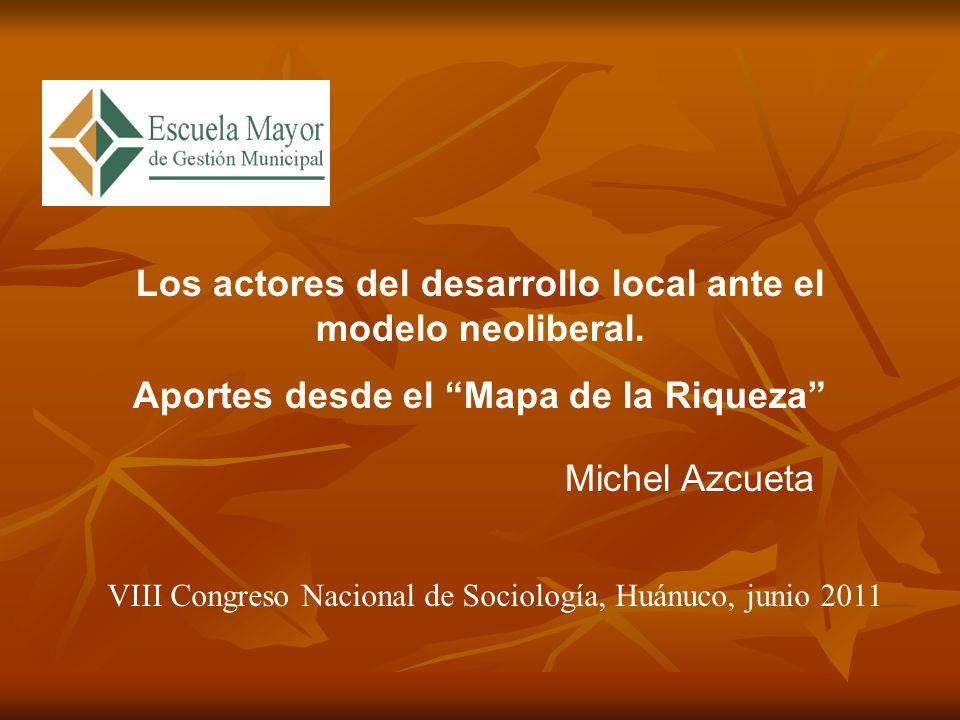 Los actores del desarrollo local ante el modelo neoliberal.