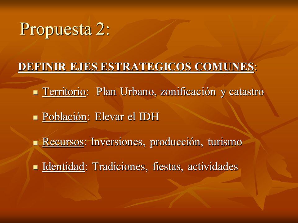 Propuesta 2: DEFINIR EJES ESTRATEGICOS COMUNES: