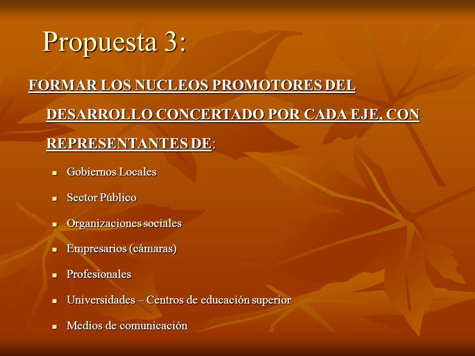 Propuesta 3: FORMAR LOS NUCLEOS PROMOTORES DEL DESARROLLO CONCERTADO POR CADA EJE, CON REPRESENTANTES DE:
