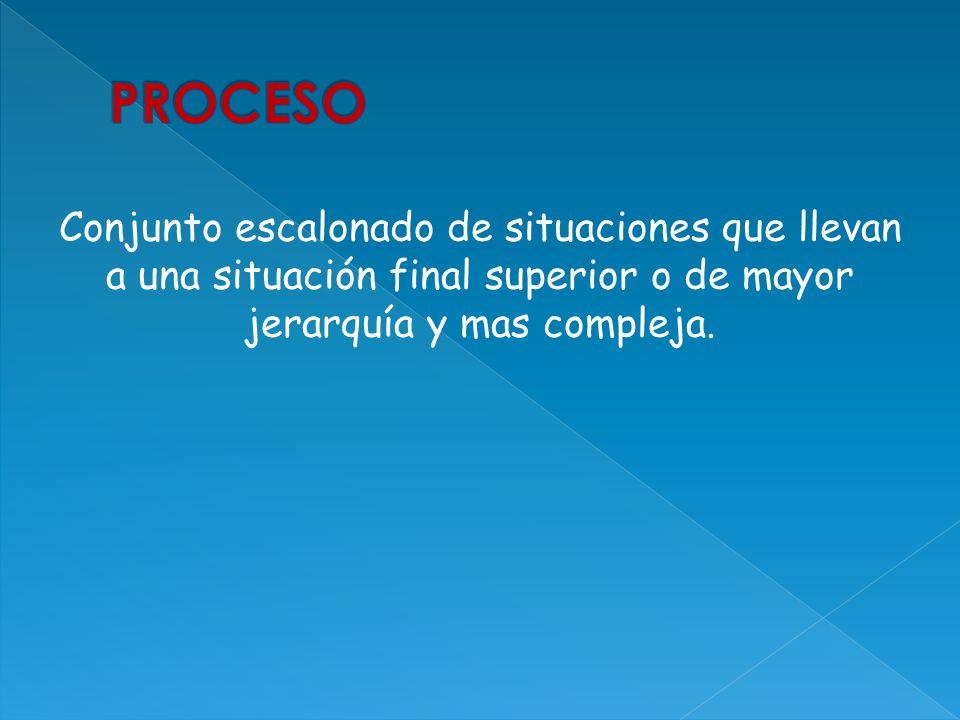 PROCESO Conjunto escalonado de situaciones que llevan a una situación final superior o de mayor jerarquía y mas compleja.