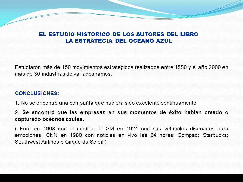 EL ESTUDIO HISTORICO DE LOS AUTORES DEL LIBRO LA ESTRATEGIA DEL OCEANO AZUL