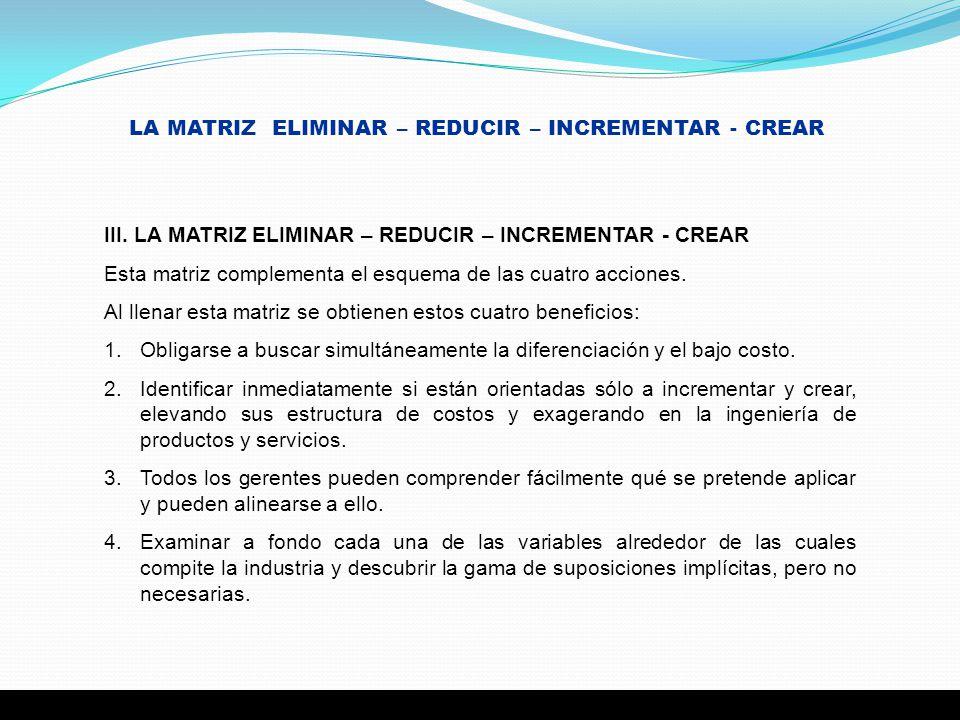 LA MATRIZ ELIMINAR – REDUCIR – INCREMENTAR - CREAR