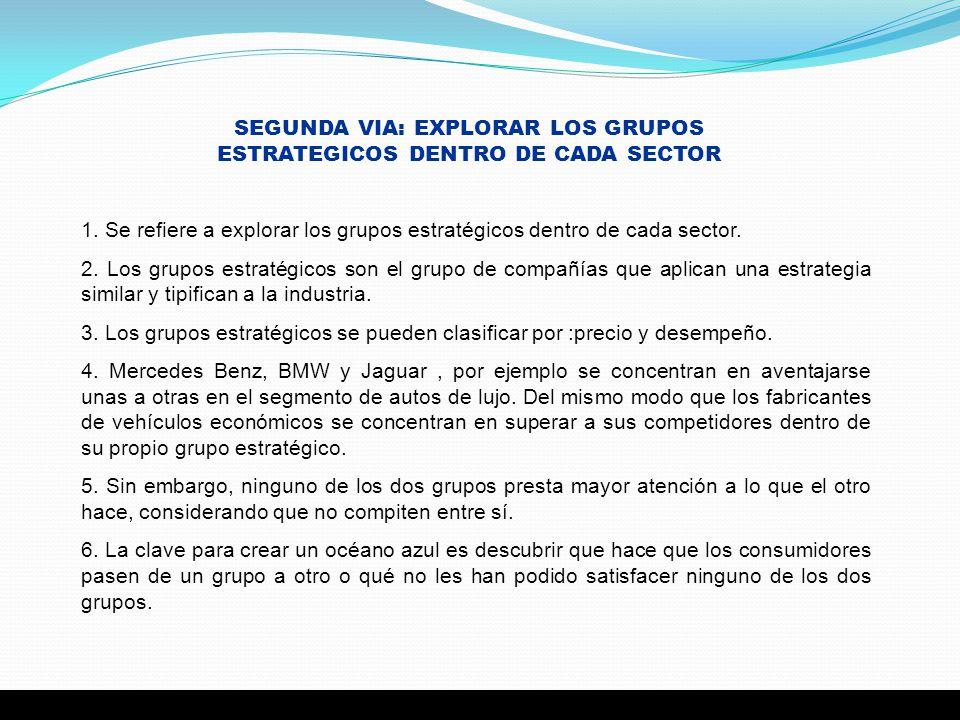 SEGUNDA VIA: EXPLORAR LOS GRUPOS ESTRATEGICOS DENTRO DE CADA SECTOR