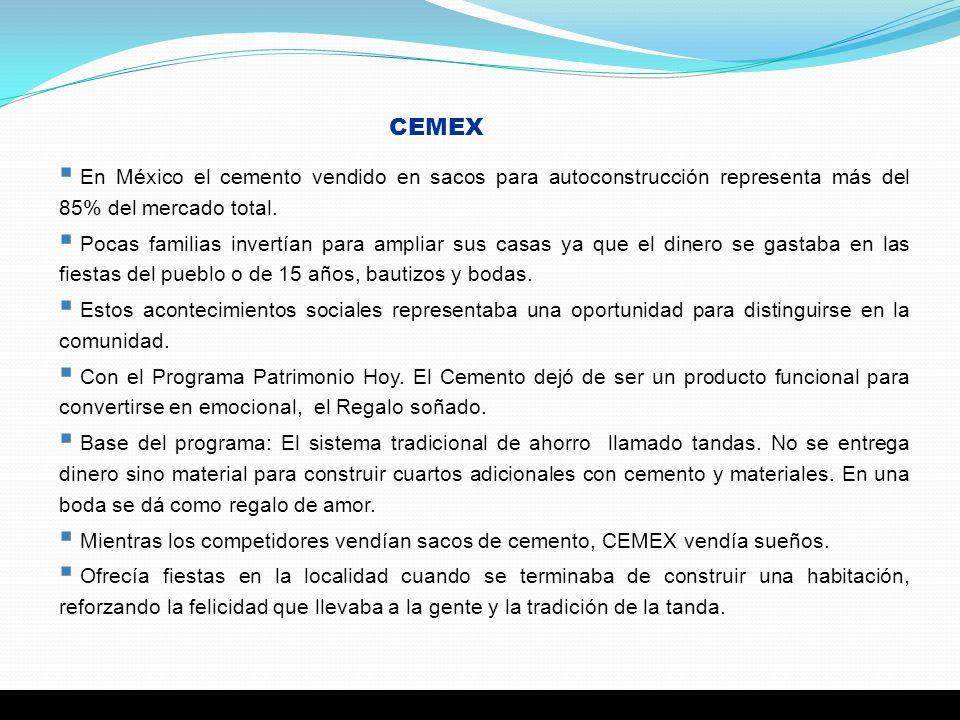 CEMEX En México el cemento vendido en sacos para autoconstrucción representa más del 85% del mercado total.