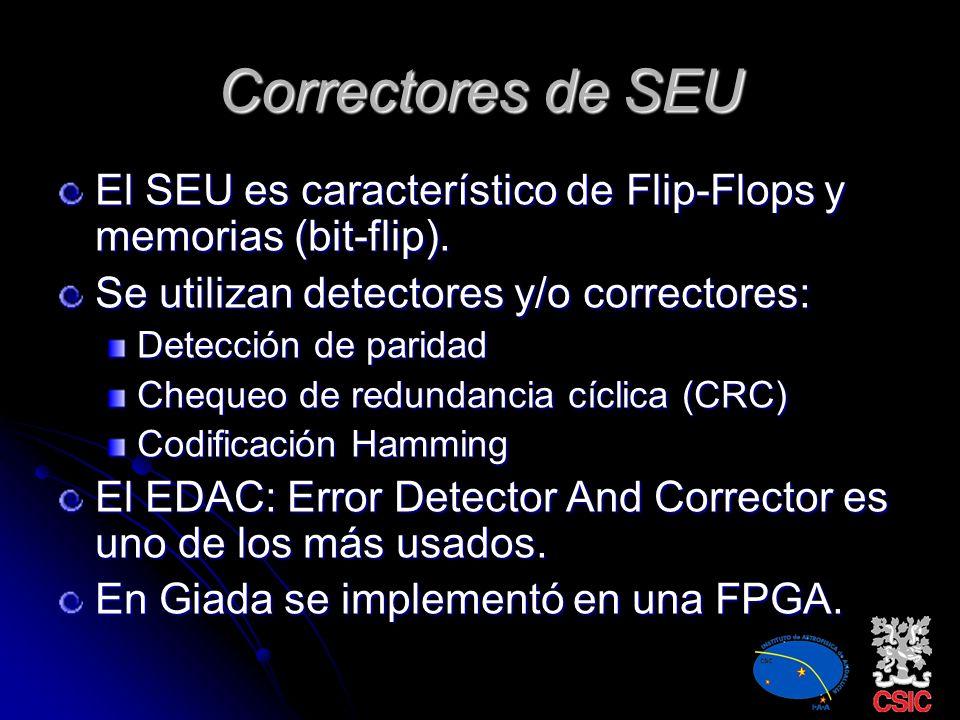Correctores de SEU El SEU es característico de Flip-Flops y memorias (bit-flip). Se utilizan detectores y/o correctores: