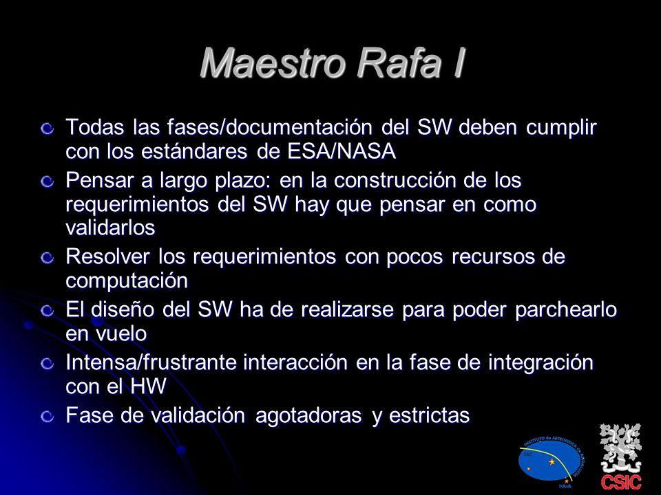 Maestro Rafa I Todas las fases/documentación del SW deben cumplir con los estándares de ESA/NASA.